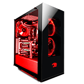 iBUYPOWER Element Front and Side Tempered Glass Gaming Case-3x Red LED Ring Fans