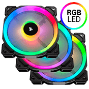 3x [RGB] Corsair LL120 120mm Dual Light Loop RGB LED Ring Fan