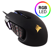 Corsair Scimitar PRO RGB Optical MOBA/MMO Gaming Mouse — Black-16000 DPI optical sensor,12 mechanical side buttons