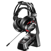 Adata XPG EMIX H30 Wired Headset and SOLOX F30 Amplifier Gaming Audio Set Bundle-Virtual 7.1 surround Sound for spatial, multi-directional Audio. Detachable noise cancelling mic