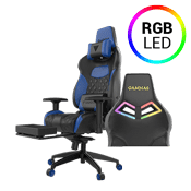 Gamdias Achilles P1 L Gaming Chair - RGB Back Lighting, Leg Rest Included [Black/Blue]