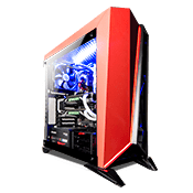 Corsair Carbide Series Spec Omega Tempered Glass LED Gaming Case - Black/Red-Black/Red