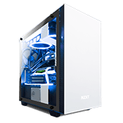 NZXT H400i Tempered Glass Gaming Case - White with NZXT Hue+ RGB Lighting