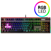 MSI VIGOR GK80 RGB Mechanical Gaming Keyboard [Red Switches]-Cherry Red Switches; RGB LED