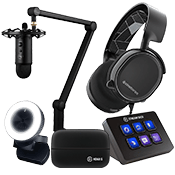 [150 OFF] Streamer Bundle - Elite ($779 Value)-Microphone + Webcam + Headset + Stream Deck Control + Video Capture Device
