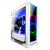 ENERMAX Saberay Front and Side Tempered Glass RGB Gaming Case - White