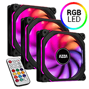 3x [RGB] Azza Prisma 120mm RGB LED Fan - with remote controller