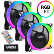 3x [RGB] Raidmax NV-R120FBR3 120mm Addressable RGB Fan