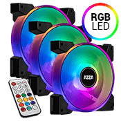 3x [RGB] AZZA Hurricane II 120mm Digital RGB LED Fan-w/ Digital RF Remote