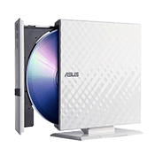 ASUS USB 2.0 External Slim CD/DVD Writer (White)-Disc Encryption with password-controlled and hidden-file functionality