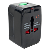 Connectland Travel Power Adaptor (Black)-Supports universal voltage 110V-240V; LED charging indicator
