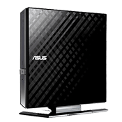 ASUS USB 2.0 External Slim CD/DVD Writer (Black)-Disc Encryption with password-controlled and hidden-file functionality