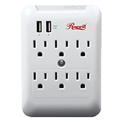 Rosewill Wall Tap Power Surge -- 6 Outlets, 2 USB Charge Ports (2.4A)-1800 Watts; 540 Joules of surge protection