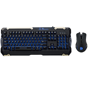 Tt eSPORTS Commander Gaming Keyboard/Mouse Combo-Tactile Plunger Switches; Adjustable blue backlighting