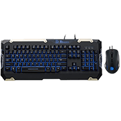 Tt eSPORTS Commander Gaming Keyboard/Mouse Combo[Blue]-Tactile Plunger Switches; Adjustable blue back-lighting