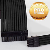 [Black] - Sleeved 24-pin Motherboard + 8-pin CPU + VGA Power Extension Cables (Include Professional Wiring)