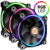 3x [RGB] Thermaltake Riing 12 Series High Static Pressure 120mm RGB LED Fan